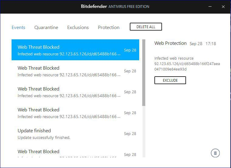 infected web resource detected by Bitdefender / General